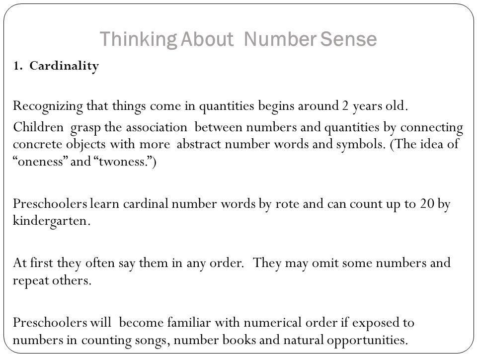 Thinking About Number Sense