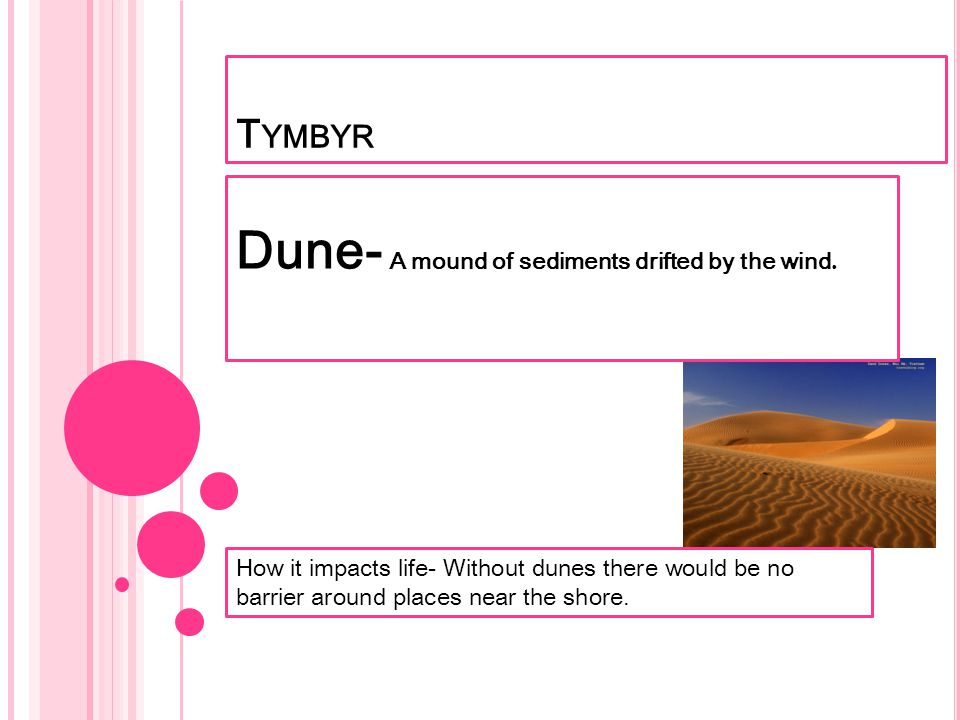 Dune- A mound of sediments drifted by the wind.