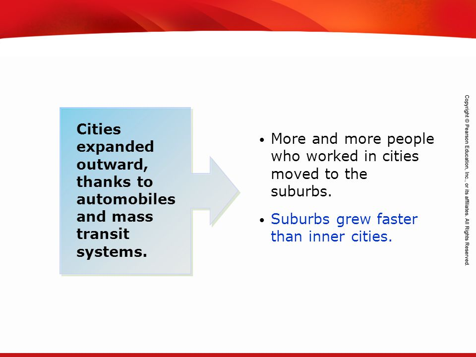 Cities expanded outward, thanks to automobiles and mass transit systems.