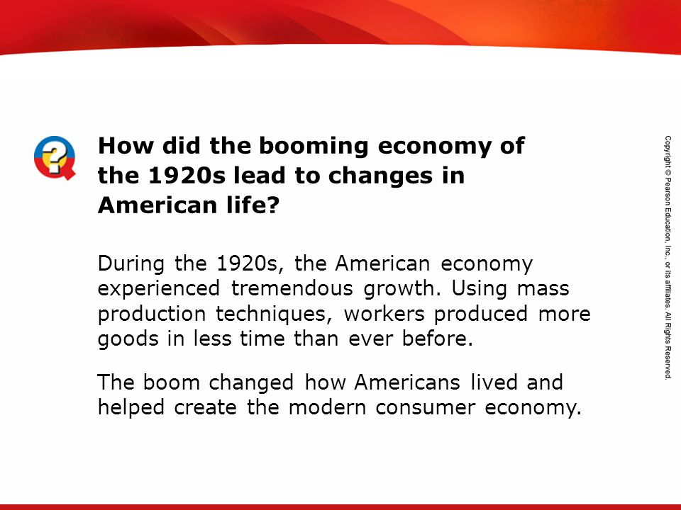 How did the booming economy of the 1920s lead to changes in American life