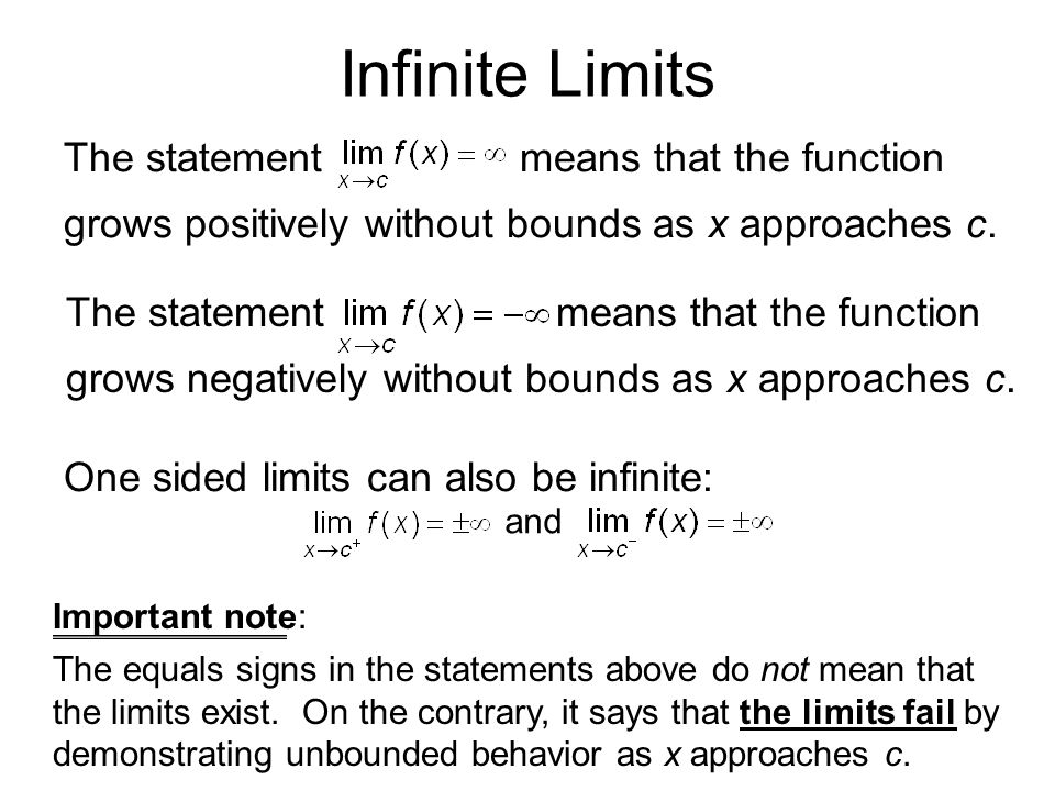 Infinite Limits The statement means that the function