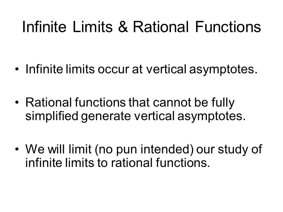 Infinite Limits & Rational Functions