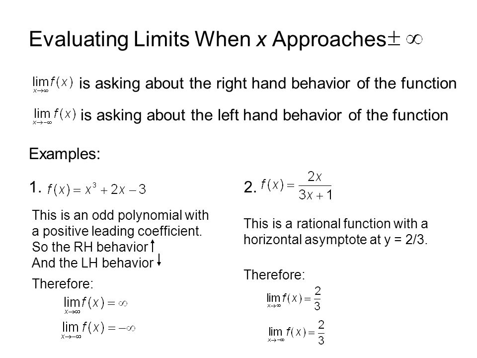 Evaluating Limits When x Approaches