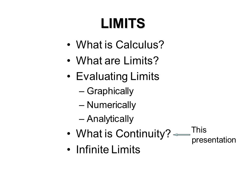 LIMITS What is Calculus What are Limits Evaluating Limits