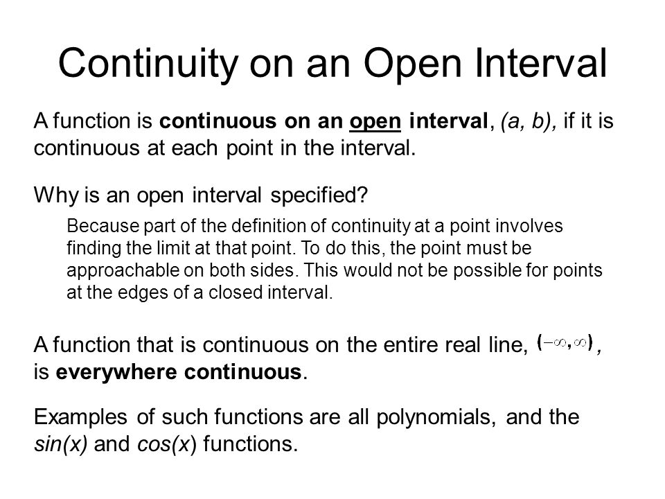 Continuity on an Open Interval