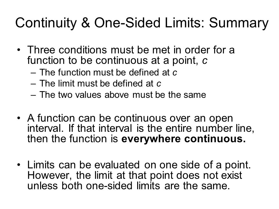 Continuity & One-Sided Limits: Summary