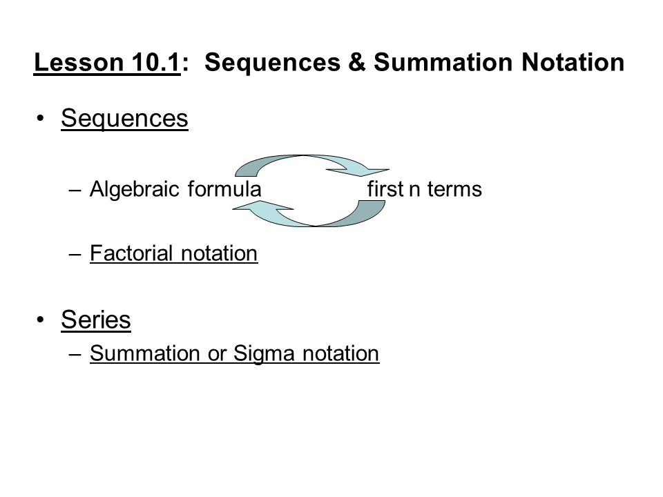 Lesson 10.1: Sequences & Summation Notation