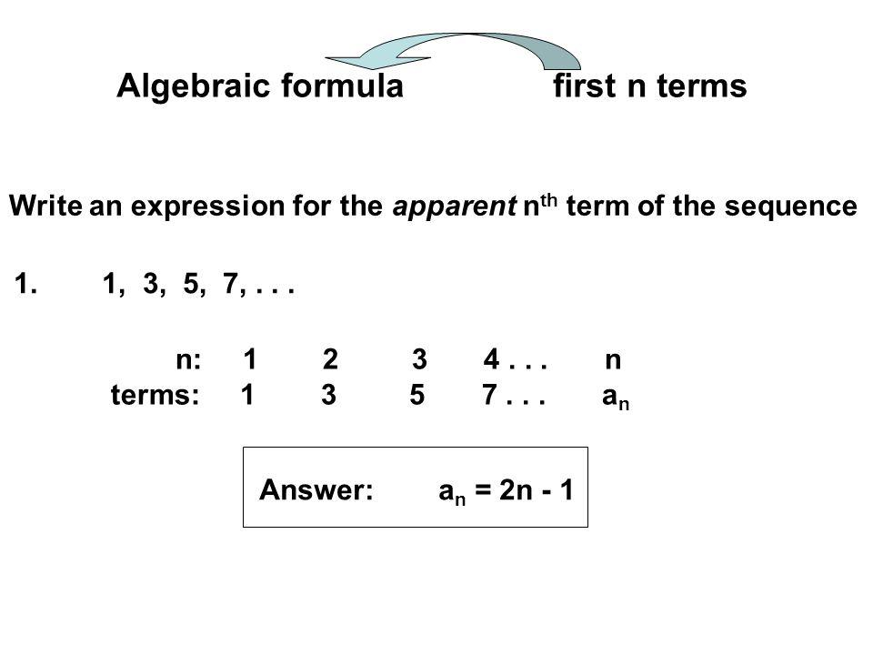 Algebraic formula first n terms