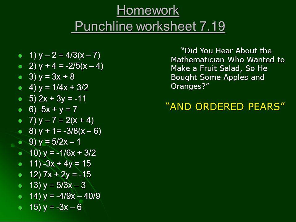 Homework Punchline worksheet 7.19