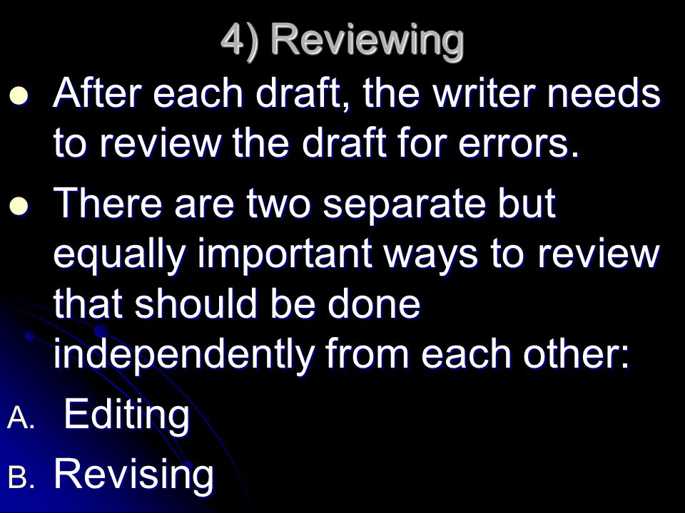 4) Reviewing After each draft, the writer needs to review the draft for errors.