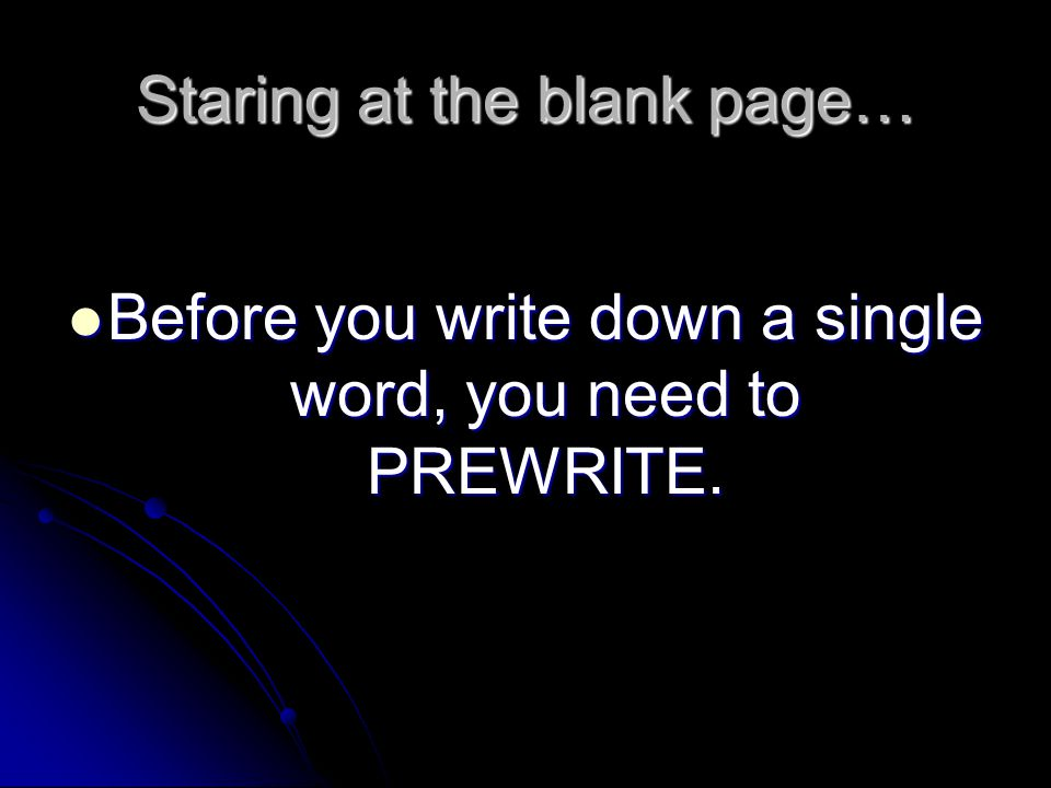 Staring at the blank page…