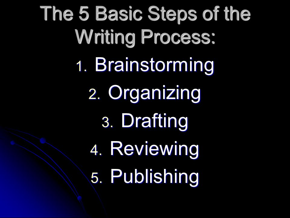 The 5 Basic Steps of the Writing Process: