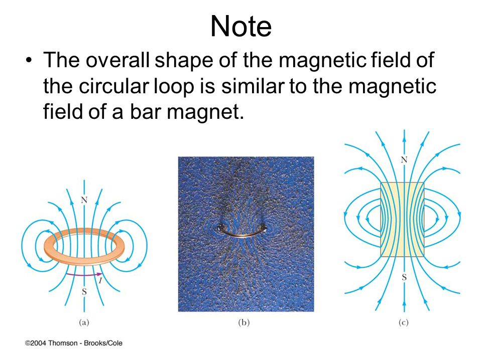 Note The overall shape of the magnetic field of the circular loop is similar to the magnetic field of a bar magnet.