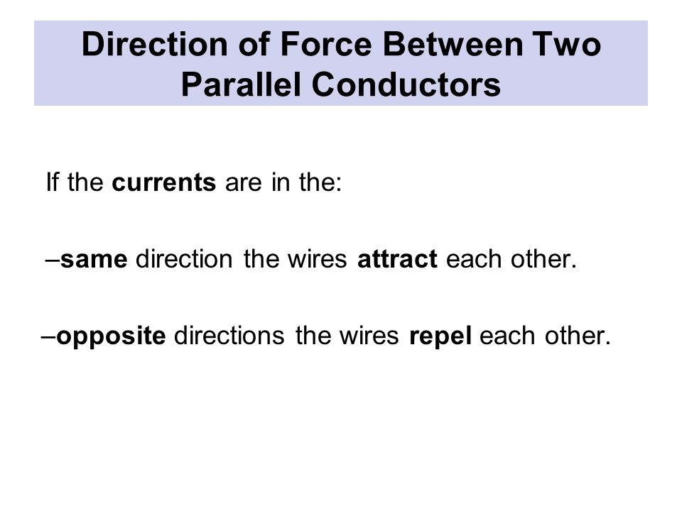 Direction of Force Between Two Parallel Conductors