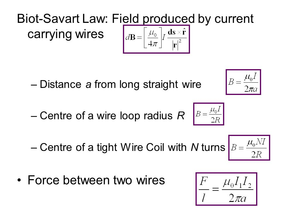 Biot-Savart Law: Field produced by current carrying wires