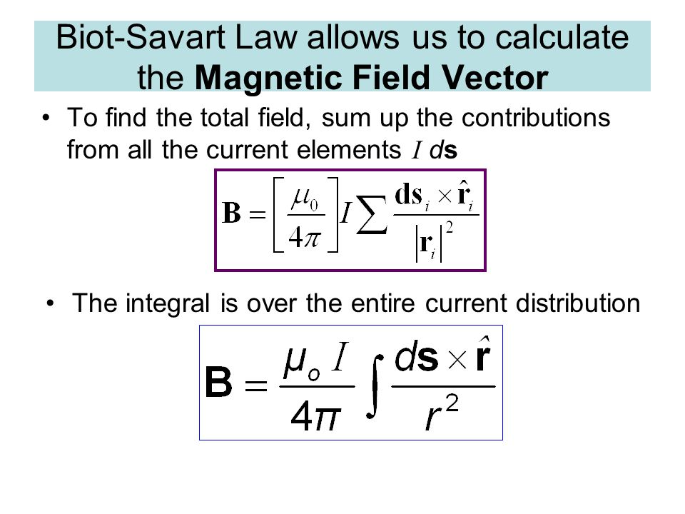 Biot-Savart Law allows us to calculate the Magnetic Field Vector
