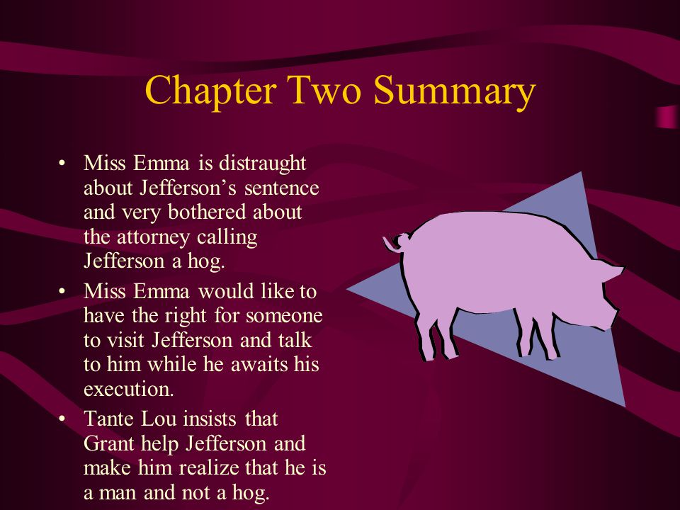Chapter Two Summary Miss Emma is distraught about Jefferson's sentence and very bothered about the attorney calling Jefferson a hog.