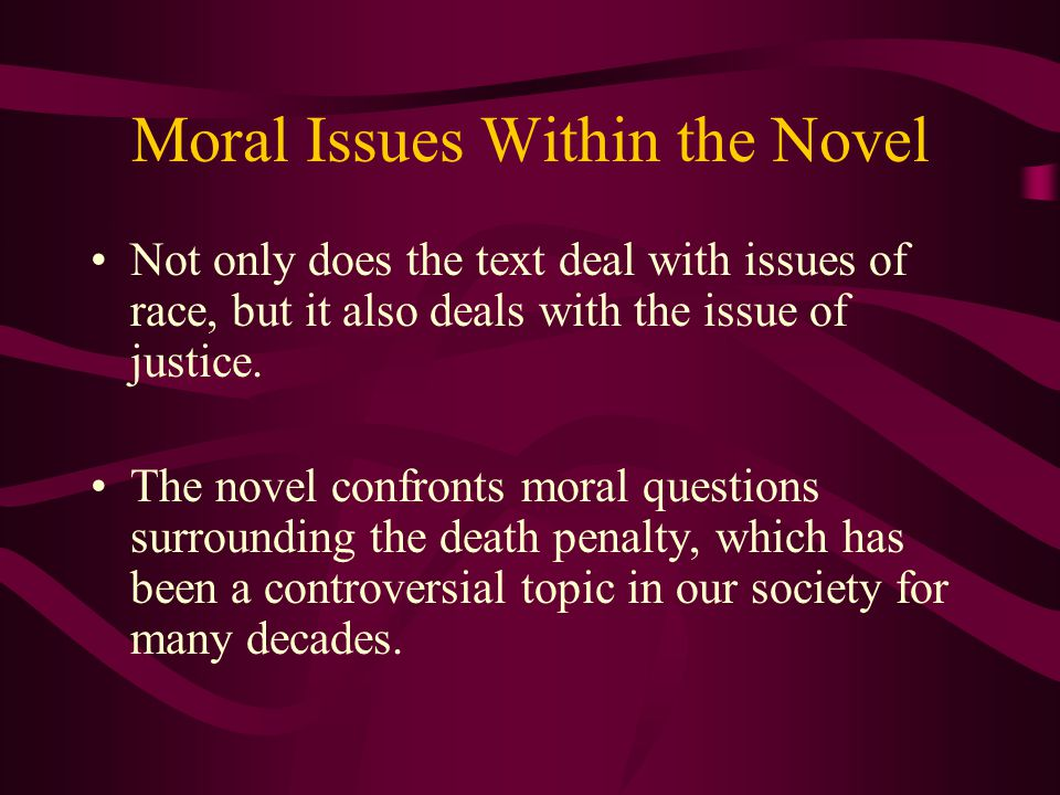 Moral Issues Within the Novel