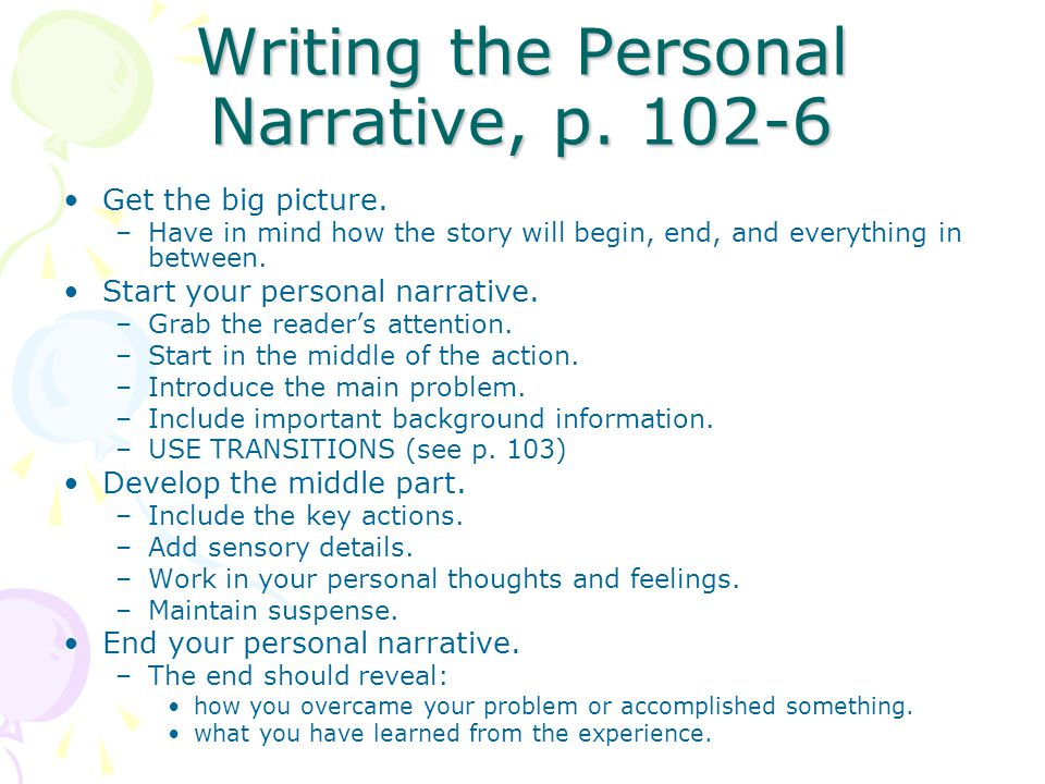 Writing the Personal Narrative, p