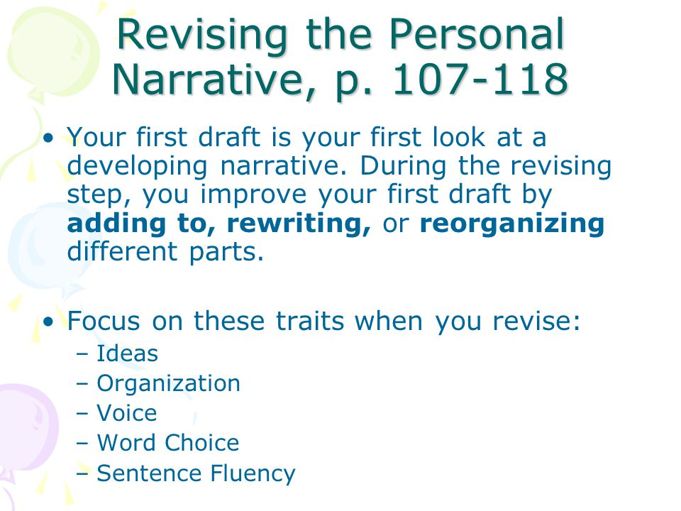 Revising the Personal Narrative, p