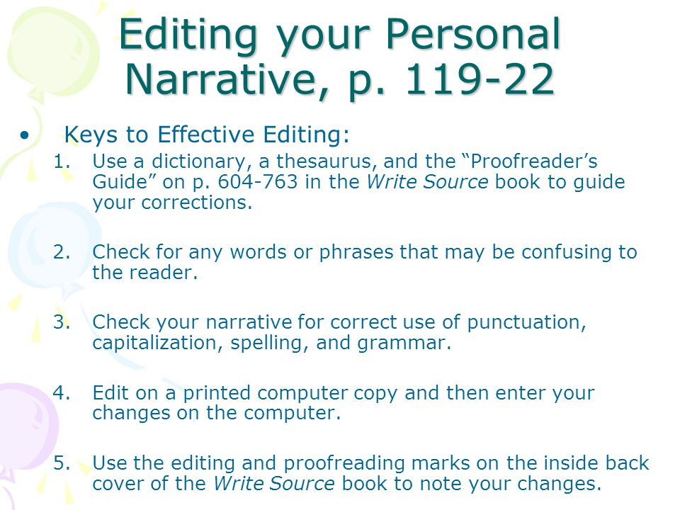 Editing your Personal Narrative, p