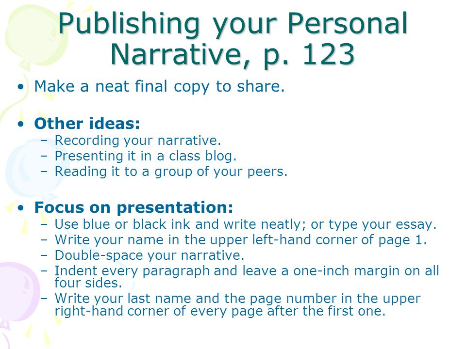 Publishing your Personal Narrative, p. 123