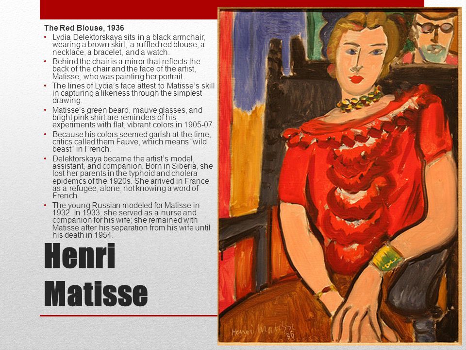 Henri Matisse The Red Blouse, 1936