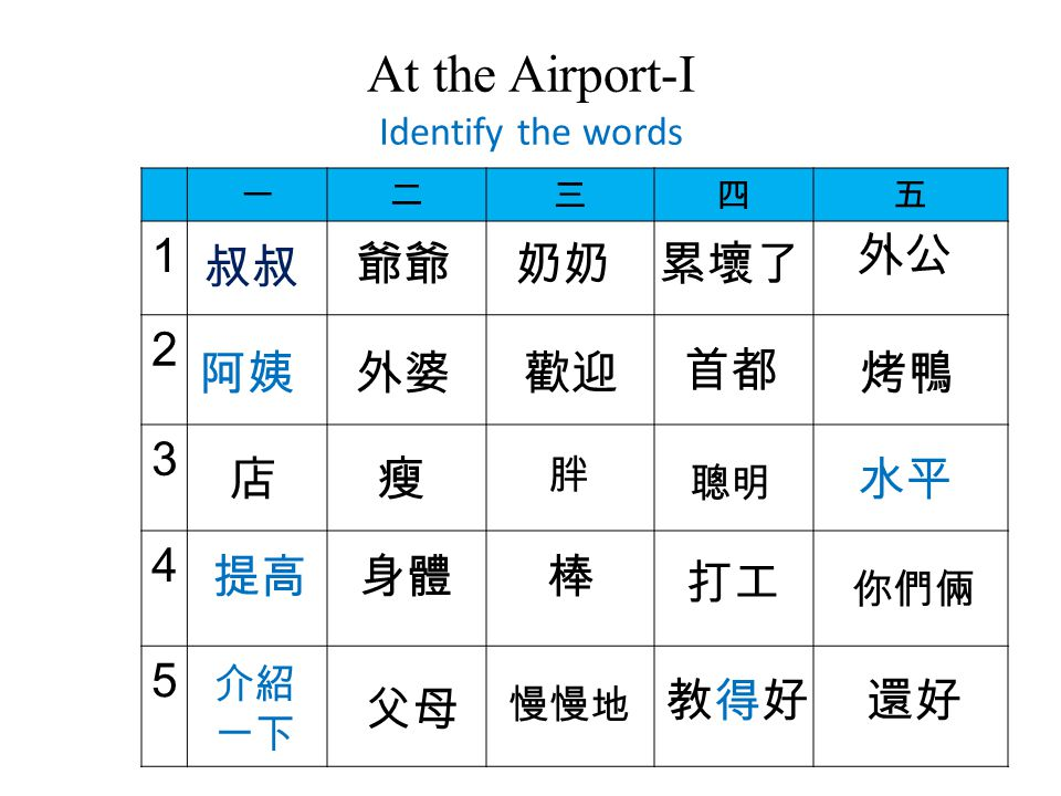 At the Airport-I Identify the words