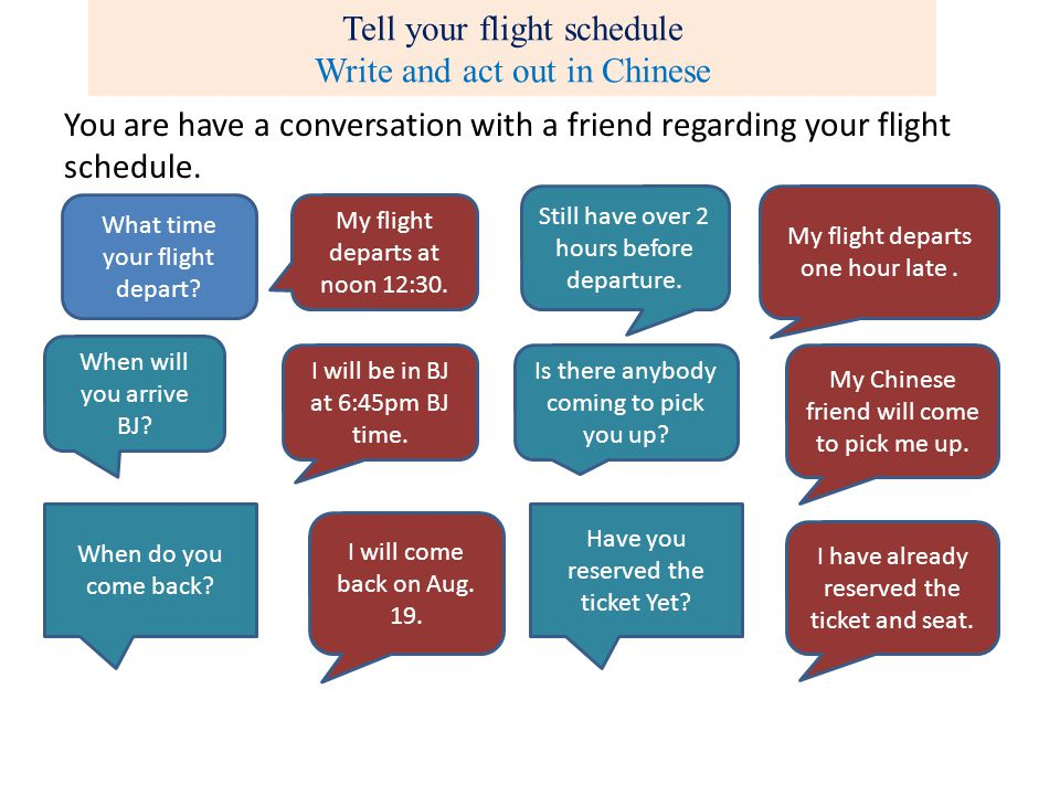 Tell your flight schedule Write and act out in Chinese