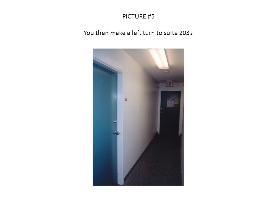 PICTURE #5 You then make a left turn to suite 203.