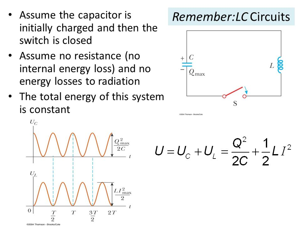 Assume the capacitor is initially charged and then the switch is closed