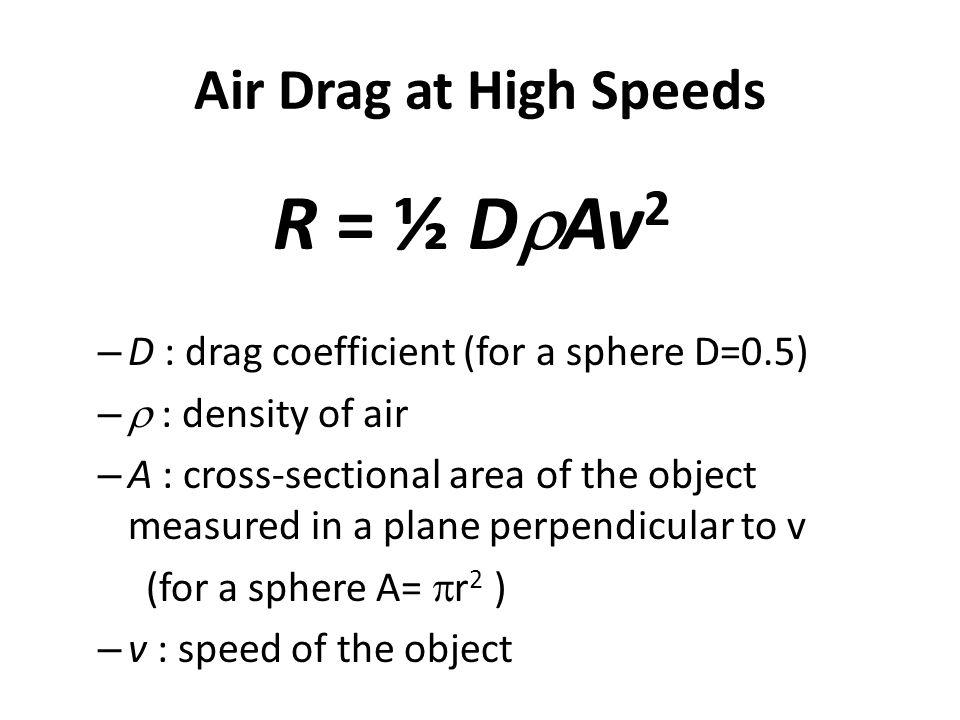 R = ½ DrAv2 Air Drag at High Speeds