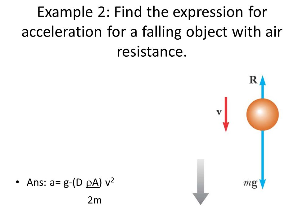 Example 2: Find the expression for acceleration for a falling object with air resistance.