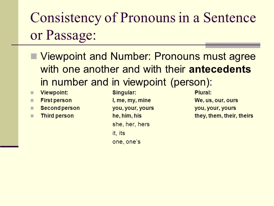 Consistency of Pronouns in a Sentence or Passage:
