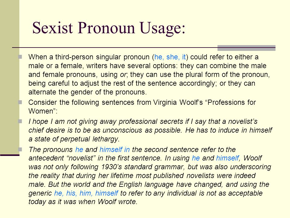 Sexist Pronoun Usage: