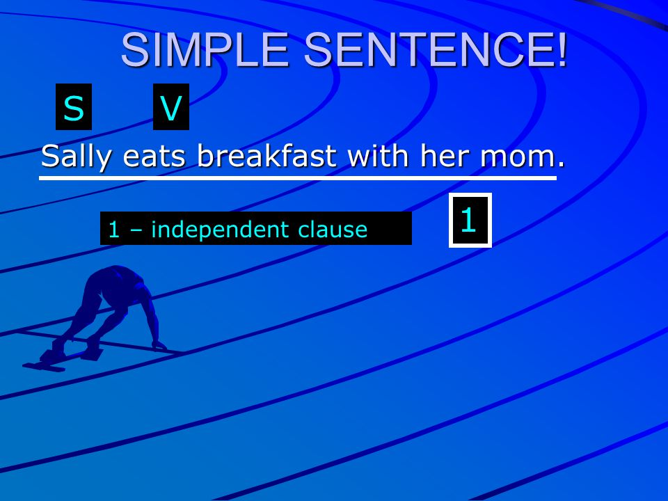 SIMPLE SENTENCE! S V 1 Sally eats breakfast with her mom.