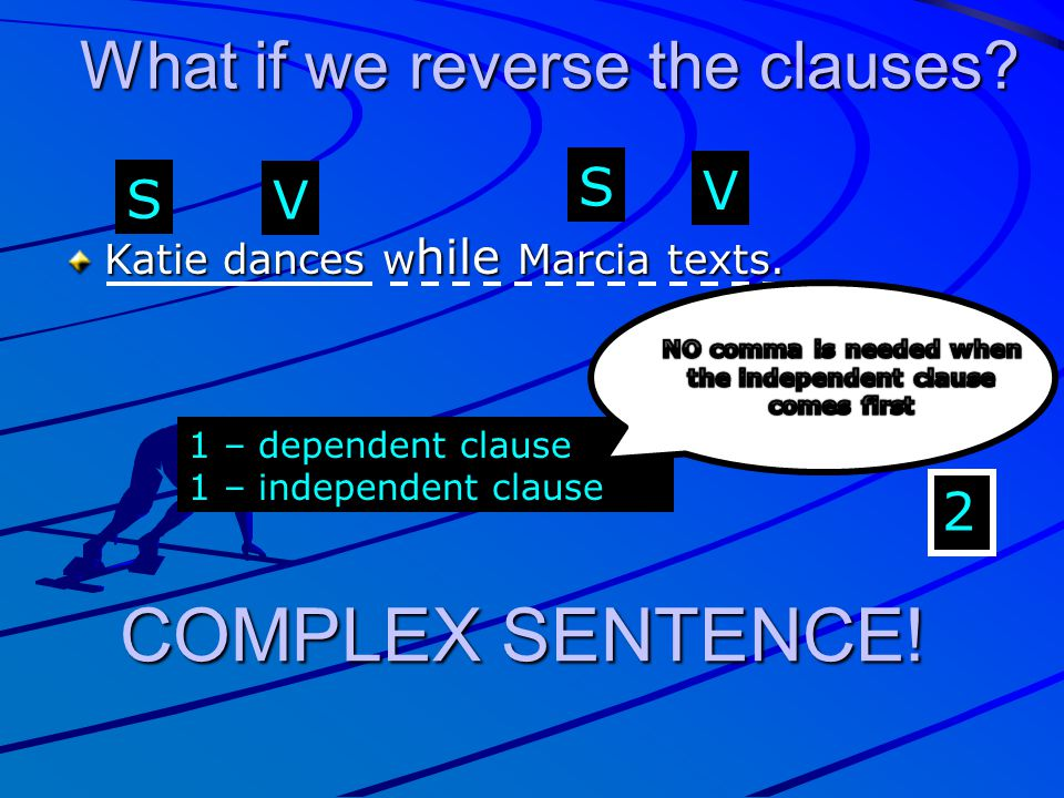 NO comma is needed when the independent clause comes first