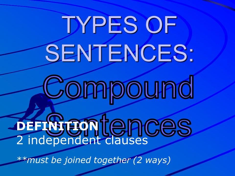 Compound Sentences TYPES OF SENTENCES: DEFINITION