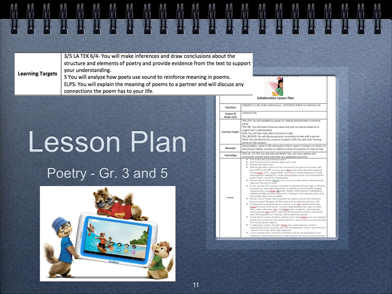 Lesson Plan Poetry - Gr. 3 and 5