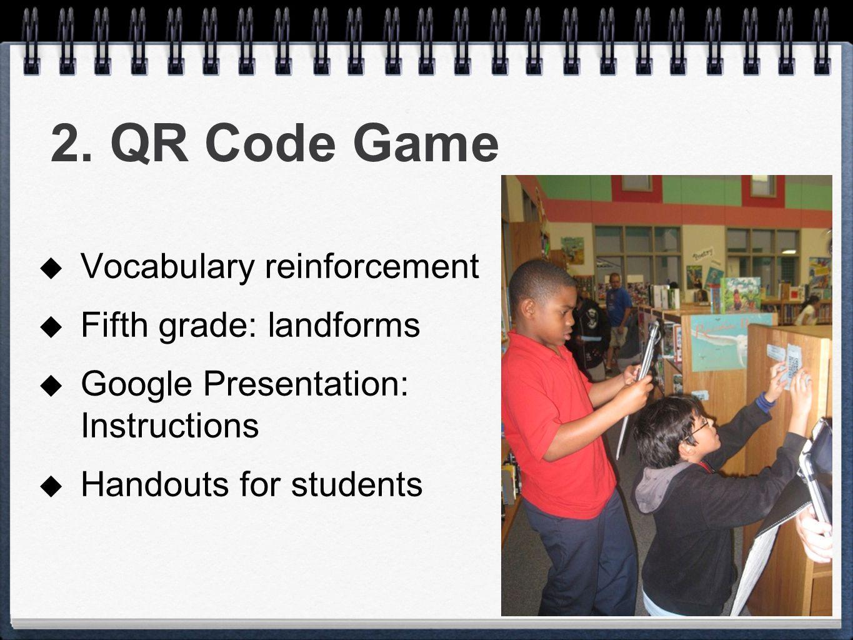 2. QR Code Game Vocabulary reinforcement Fifth grade: landforms