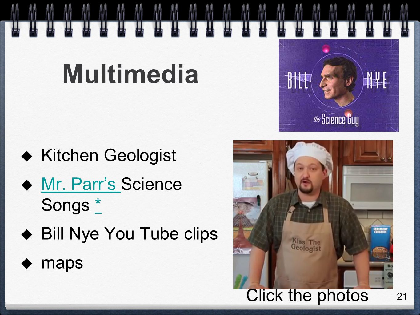 Multimedia Kitchen Geologist Mr. Parr's Science Songs *