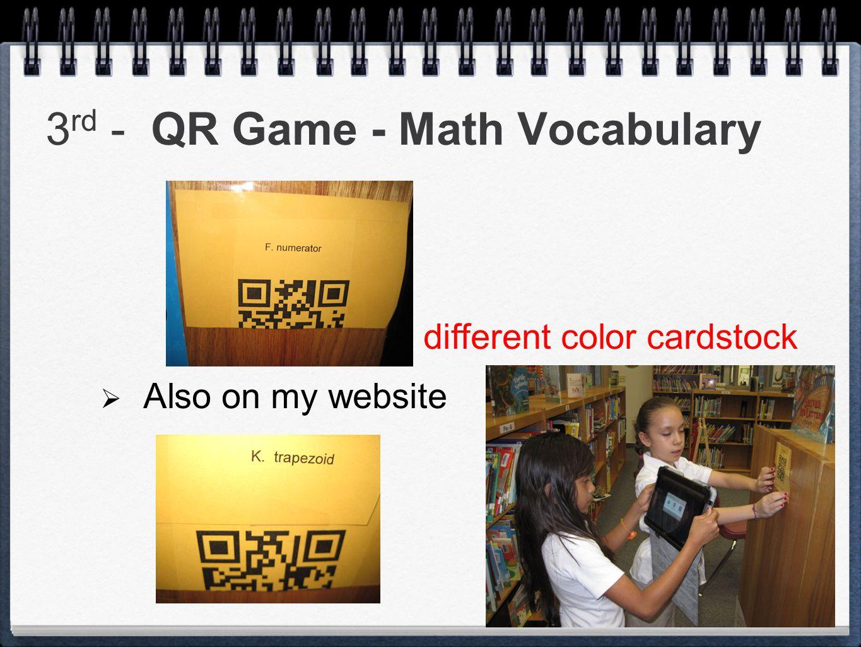 3rd - QR Game - Math Vocabulary