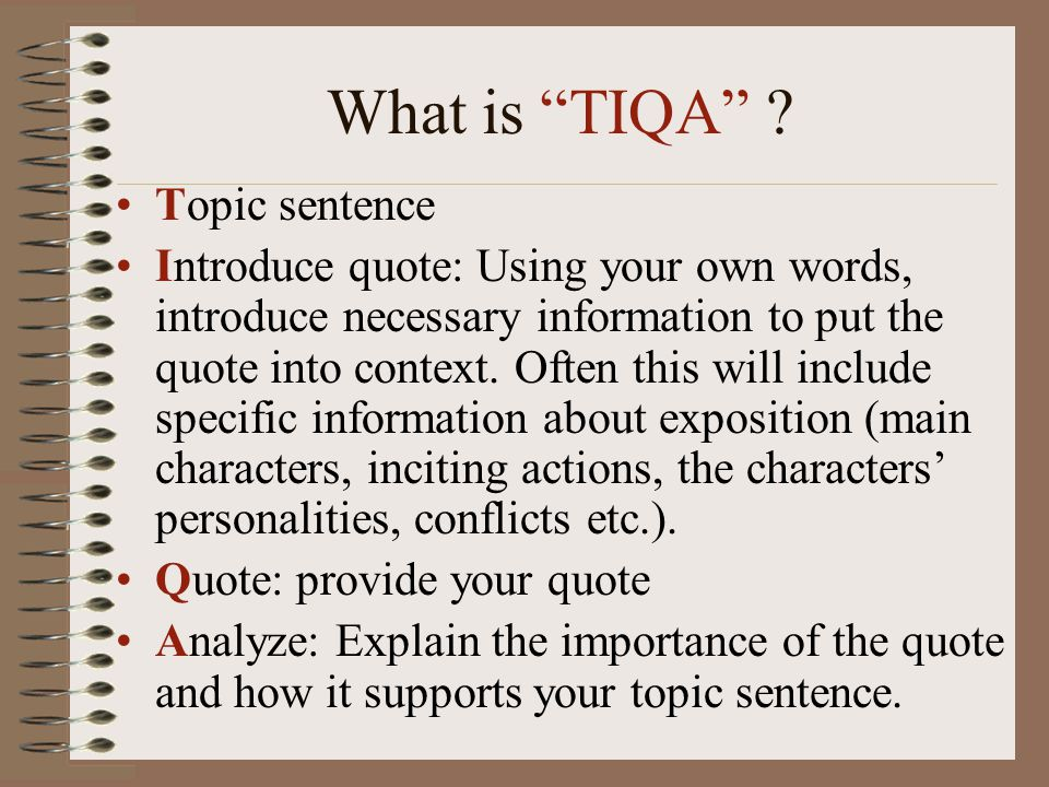 What is TIQA Topic sentence