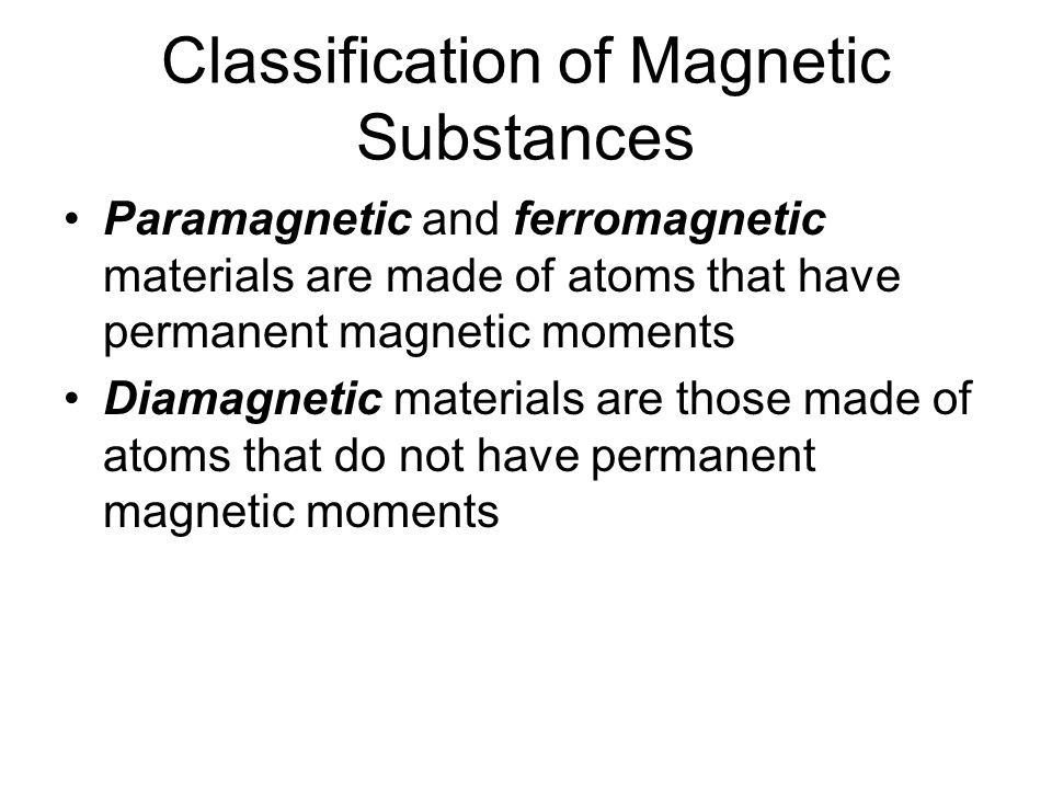 Classification of Magnetic Substances