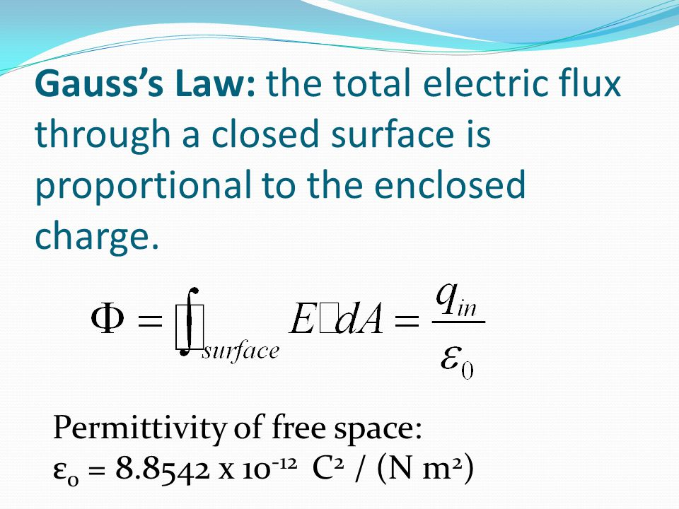 Gauss's Law: the total electric flux through a closed surface is proportional to the enclosed charge.