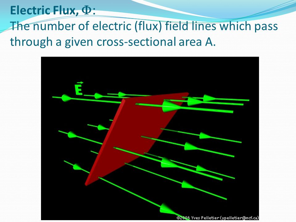 Electric Flux, F: The number of electric (flux) field lines which pass through a given cross-sectional area A.