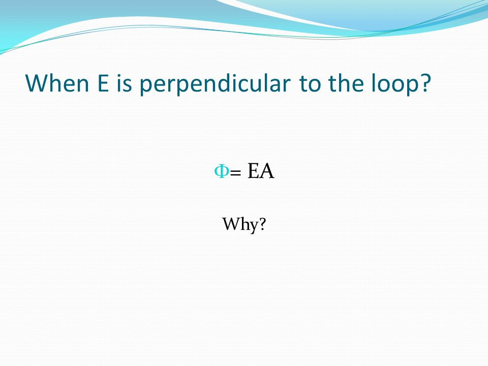 When E is perpendicular to the loop