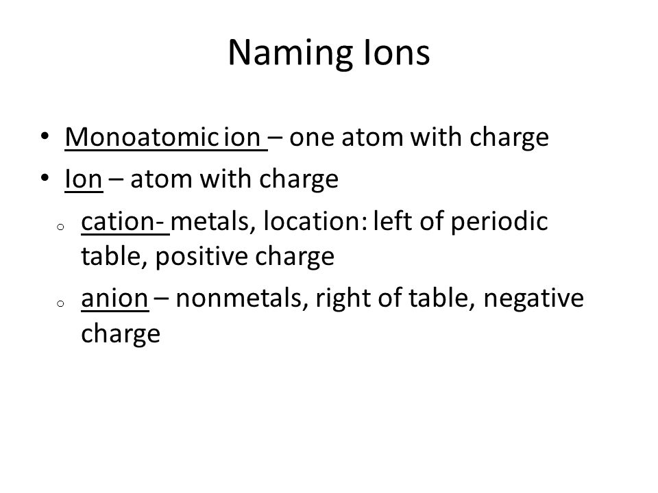 Naming Ions Monoatomic ion – one atom with charge