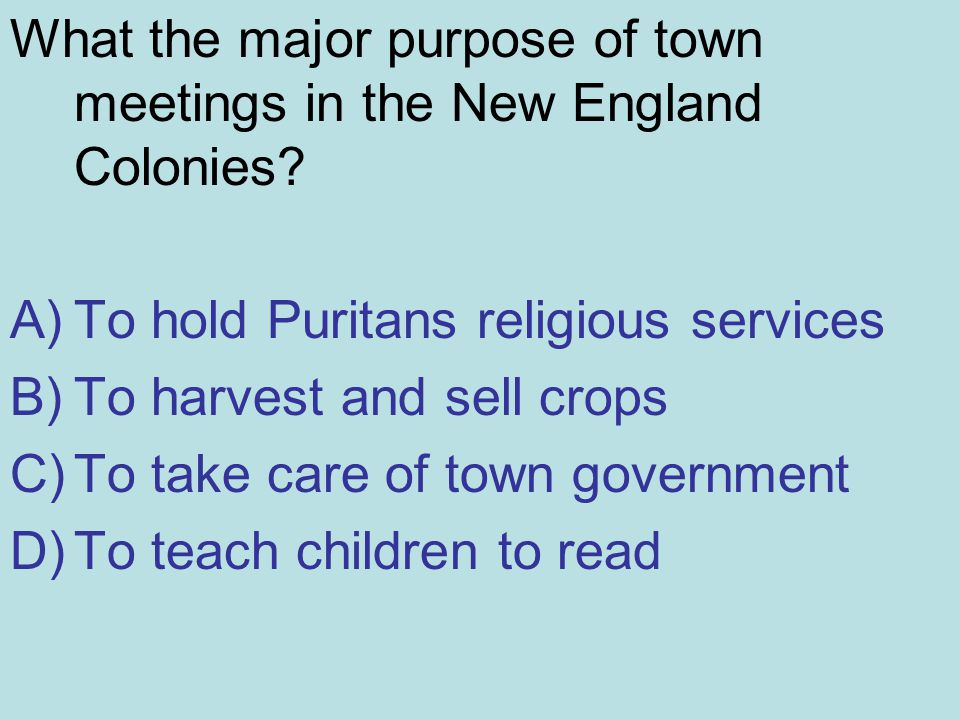 What the major purpose of town meetings in the New England Colonies