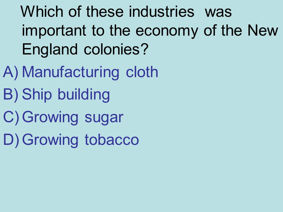 Which of these industries was important to the economy of the New England colonies